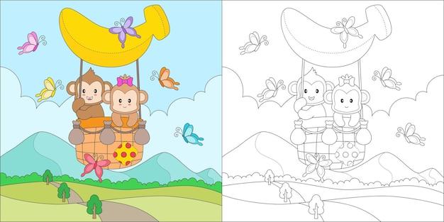 Kleur aap rijden luchtballon