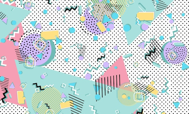 Kleur achtergrond. memphis-stijl. funky abstract patroon. geometrische elementen. vectorillustratie.