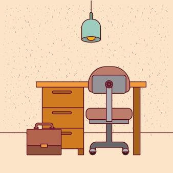 Kleur achtergrond met sparkles werkplek kantoor interieur met lamp en portfolio