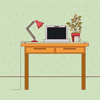 Kleur achtergrond met sparkles werkplek kantoor interieur met tech laptop en plantpot