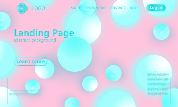 Kleur achtergrond. roze en blauwe zachte bollen. vloeistofpatroon. 3d geometrische vormen.