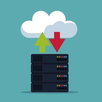 Kleur achtergrond van server box met cloud-opslag