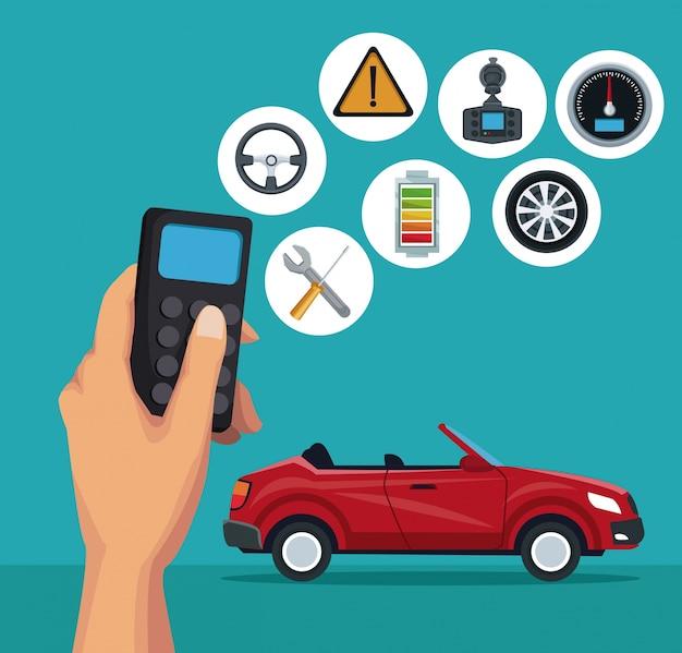 Kleur achtergrond van sport converteerbare auto en afstandsbediening met knop elementen satelliet zoek voertuig