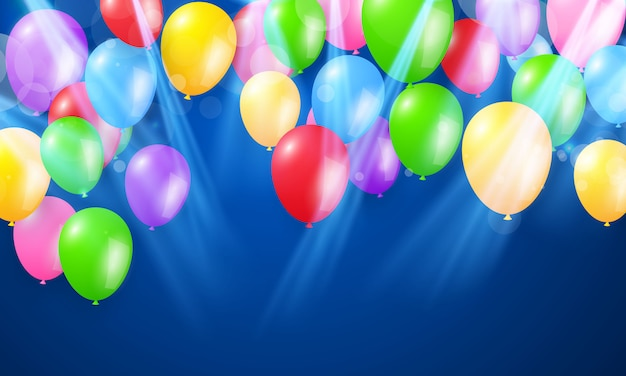 Kleur ballonnen concept sjabloon vakantie happy day, achtergrond viering illustratie.