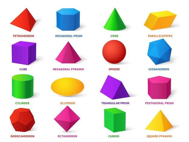 Kleur basisvormen. realistische 3d geometrische vormen kubus en ellipsoïde, cilinder en bol, kegel en piramide, dodecaëder en octaëder, leerobjecten vector onderwijs set