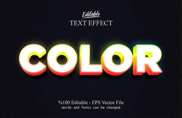 Kleur bewerkbare teksteffect vector