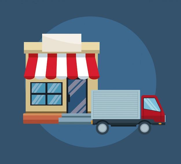 Kleur blauwe achtergrond met gevelwinkelzonwering en bestelwagen