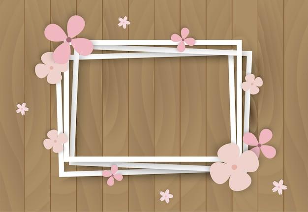 Kleur bloemen op houten frame