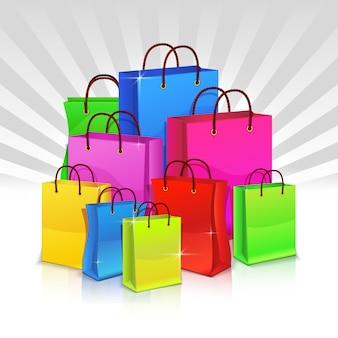 Kleur boodschappentassen. korting.