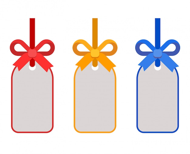 Kleur cadeau tags en labels set met strikken van lint vlakke afbeelding