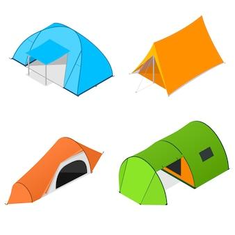 Kleur camping tent set. toeristisch kamp.