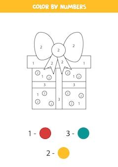 Kleur cartoon kerstcadeau door getallen