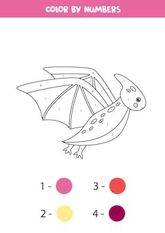 Kleur cartoon vliegende dinosaurus pterodactyl op nummer. spel tellen.