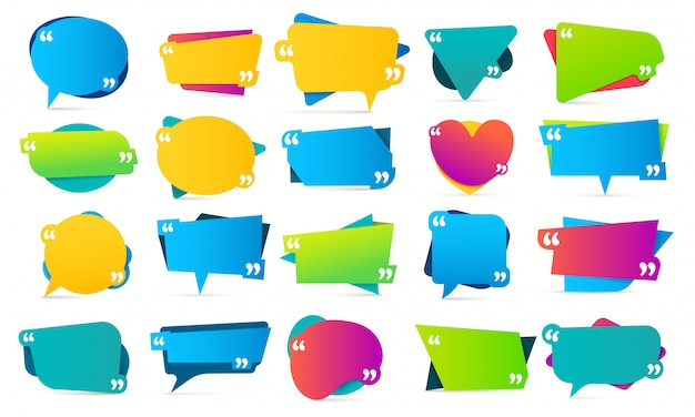 Kleur citaat tussen aanhalingstekens. offerteframes, opmerkingen vermelden en kleurrijke berichtensjabloon voor bellenvermelding