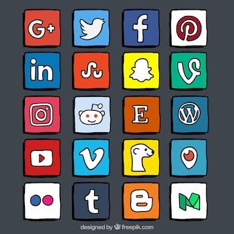 Kleur de hand getekende social media logo collectie