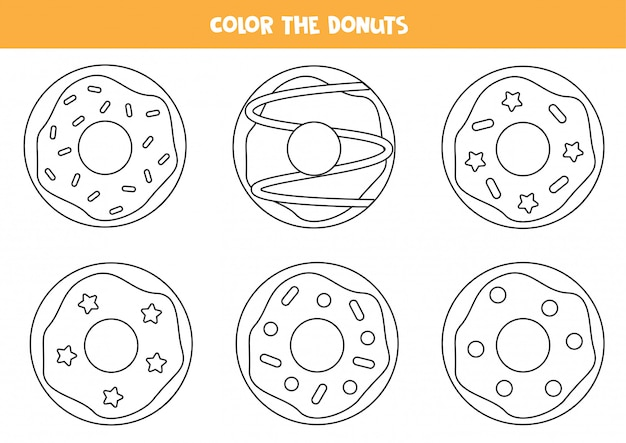 Kleur de set donuts. kleurplaten voor kleuters.