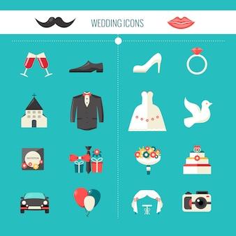 Kleur decoratieve bruiloft pictogrammen