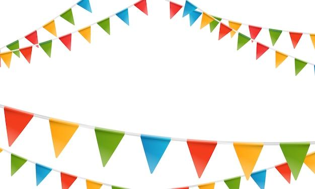 Kleur driehoek vlaggen slinger.