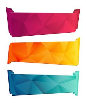 Kleur driehoekig lint en banner set