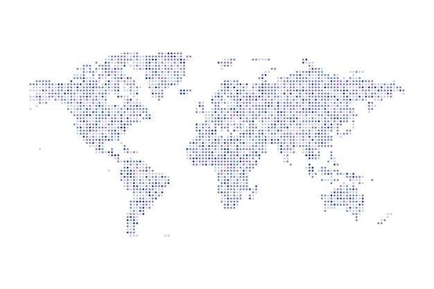 Kleur gestippelde politieke wereldkaart geïsoleerde illustratie
