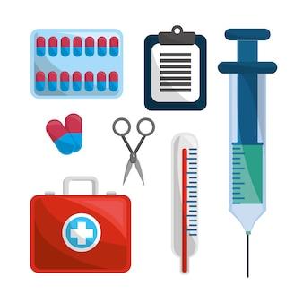 Kleur gezondheidszorg, medicatie gereedschappen pictogram