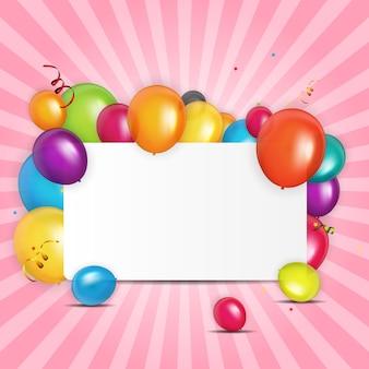Kleur glanzend ballonnen verjaardag kaart achtergrond