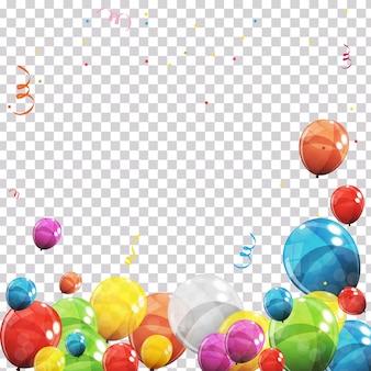 Kleur glanzende ballonnen en confetti op transparante gecontroleerde achtergrond