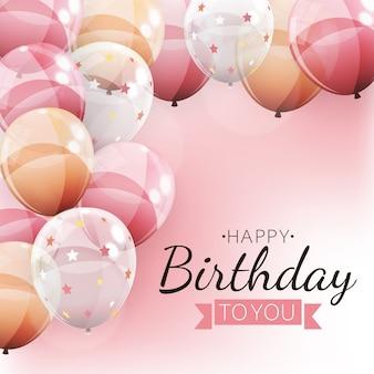 Kleur glanzende ballonnen happy birthday achtergrond