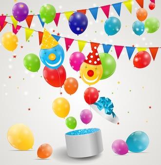 Kleur glanzende ballonnen in geschenkdoos achtergrond vectorillustratie