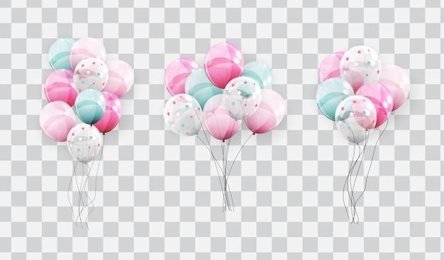 Kleur glanzende ballonnen op transparante achtergrond