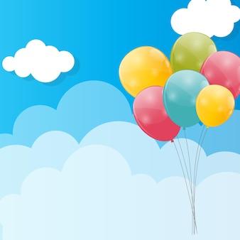 Kleur glanzende ballonnen tegen blu sky achtergrond illustratie.