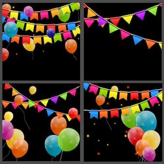 Kleur glanzende ballonnen verjaardagskaart achtergrond vectorillustratie
