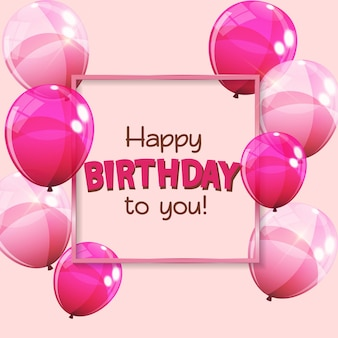 Kleur glanzende gelukkige verjaardag ballonnen banner achtergrond vectorillustratie eps10