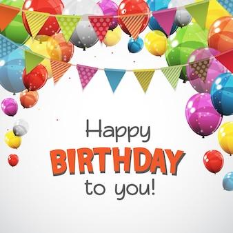 Kleur glanzende gelukkige verjaardag ballonnen banner achtergrond vectorillustratie