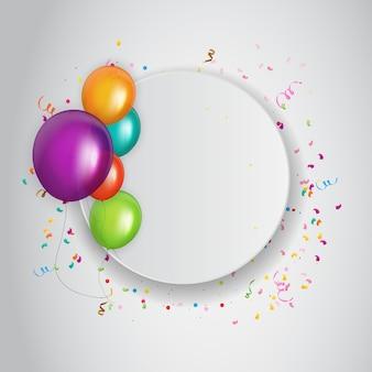 Kleur glanzende gelukkige verjaardag ballonnen banner
