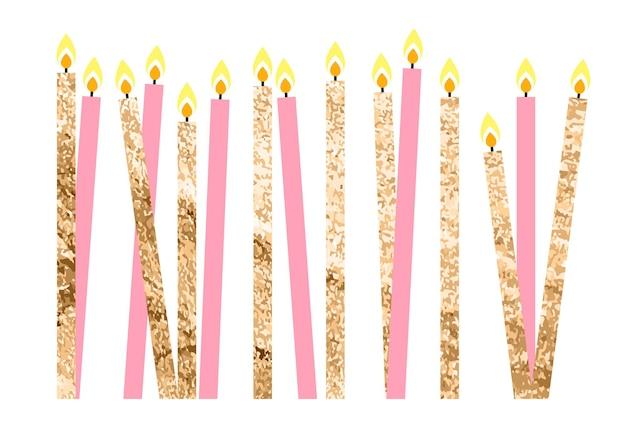 Kleur glanzende gelukkige verjaardag kaarsen vectorillustratie eps10