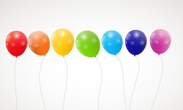 Kleur glanzende regenboog ballonnen achtergrond vectorillustratie