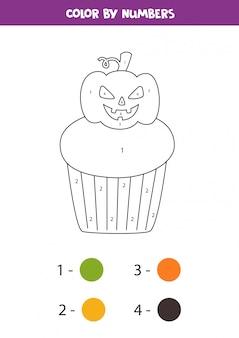 Kleur griezelige halloween cupcake op nummer. math spel.