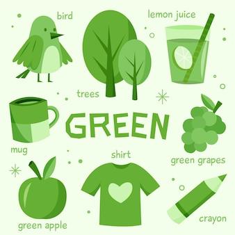 Kleur groen en woordenschat in het engels