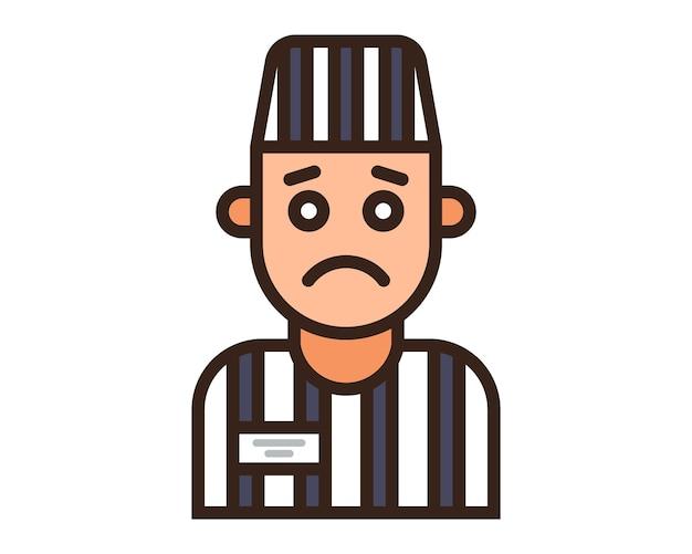 Kleur icoon van een gevangene in een gestreept uniform. platte karakter vectorillustratie.