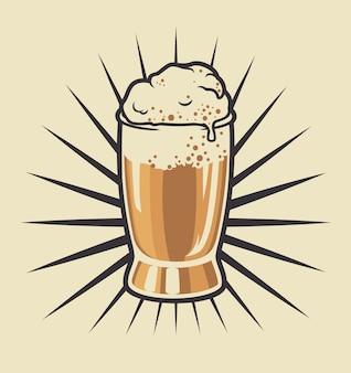 Kleur illustratie van een bierglas op een lichte achtergrond. extra kleur zijn in een aparte groep. makkelijk om de illustratie zwart-wit te maken