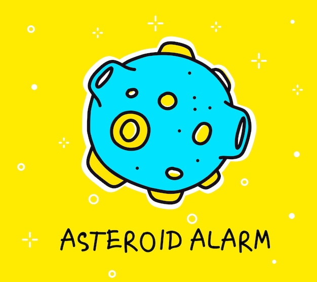 Kleur illustratie van grote blauwe asteroïde