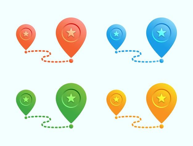 Kleur kaart pin locatiepictogram