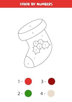 Kleur kerstsok op nummer. educatief werkblad voor kinderen.