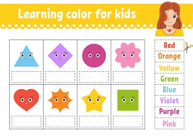 Kleur leren voor kinderen. onderwijs ontwikkelt werkblad. activiteitenpagina met kleurenfoto's.