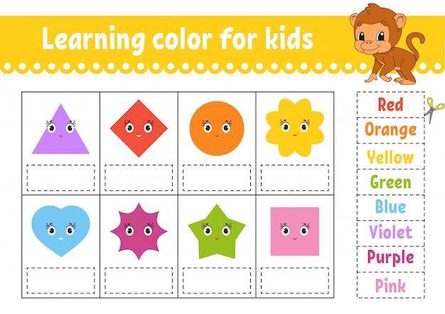 Kleur leren voor kinderen. werkblad voor het ontwikkelen van onderwijs.