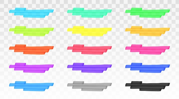 Kleur markeerstift lijnen geïsoleerde sjabloon set