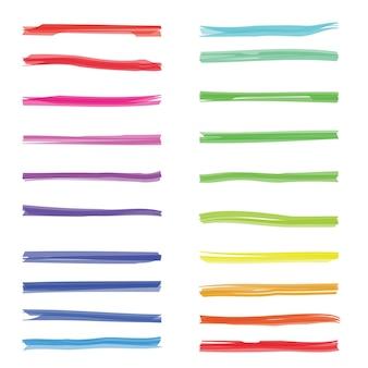 Kleur markeren strepen. gekleurde markeerstift op wit papier. set kleurmarkeringslijnen, illustratie van slagmarkering