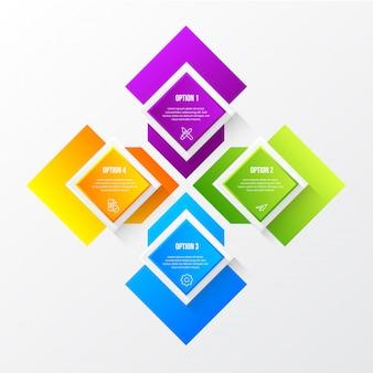 Kleur moderne infographic met 3d-tabel