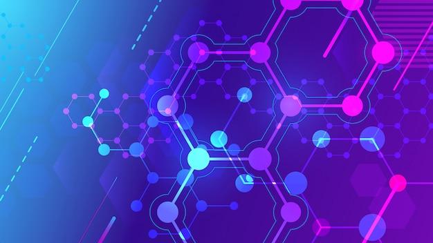 Kleur moleculaire structuur. zeshoekig molecuulraster, chemiestructuren en wetenschappelijke farmaceutische onderzoeksachtergrond